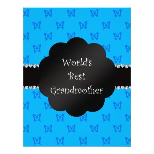 World's best grandmother blue butterflies flyer design