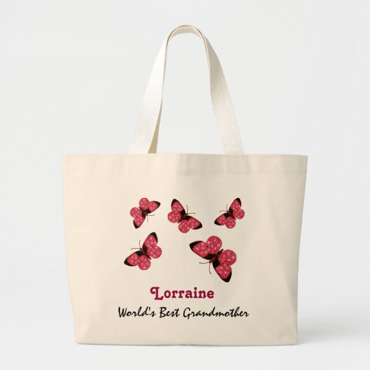World's Best Grandmother Name Pink Butterflies Large Tote Bag