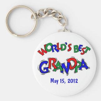 World's Best Grandpa Basic Round Button Key Ring