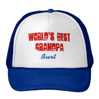 World's Best Grandpa Custom Name Blue Red Trucker Hat