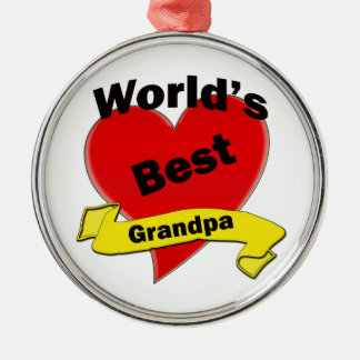 World's Best Grandpa Silver-Colored Round Decoration