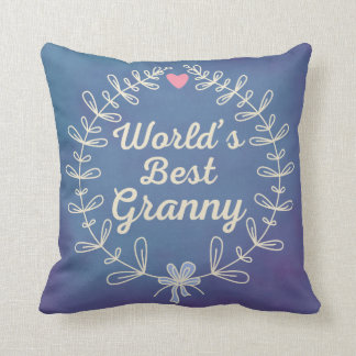 World's Best Granny Hand Drawn Wreath Pillow