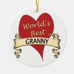 World's Best Granny Round Ceramic Decoration