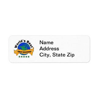 World's Best Great Granddad Return Address Label