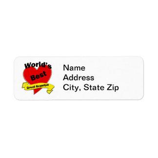 World's Best Great Grandpa Return Address Label