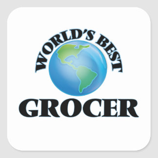 World's Best Grocer Square Sticker