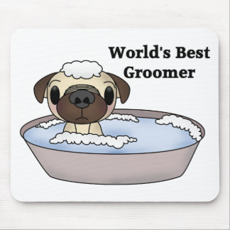 World's Best Groomer Pug Tees and Gifts Mouse Mat