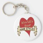 World's Best Hairstylist Basic Round Button Key Ring