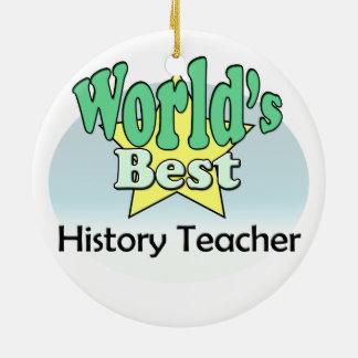 World's best History Teacher Round Ceramic Decoration