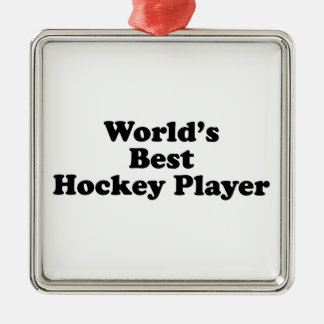 World's Best Hockey Player Silver-Colored Square Decoration