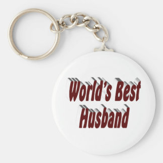 World's Best Husband 3D Key Chains, Burgundy Basic Round Button Key Ring