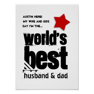 World's Best Husband and Dad Red Star A03 Poster
