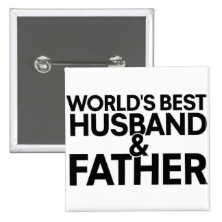 World's best husband and father 15 cm square badge