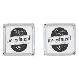 World's Best Investment Banker Silver Finish Cufflinks