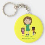 World's Best Kindergarten Teacher Cute Cartoon Basic Round Button Key Ring