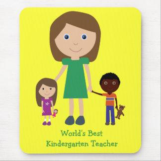 World's Best Kindergarten Teacher Cute Cartoon Mouse Pad