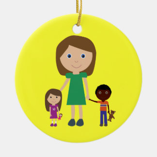 World's Best Kindergarten Teacher Cute Cartoon Round Ceramic Decoration