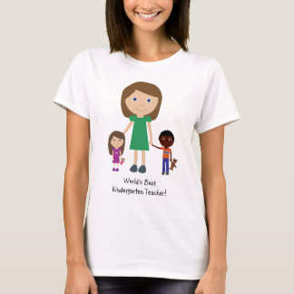 World's Best Kindergarten Teacher Cute Cartoon T-Shirt