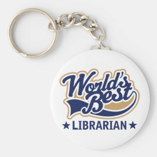 Worlds Best Librarian Gift Basic Round Button Key Ring