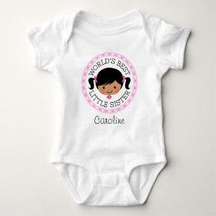 Worlds best little sister cartoon girl black hair baby bodysuit