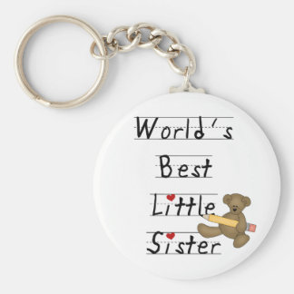 World's Best Little Sister Tshirts and Gifts Basic Round Button Key Ring
