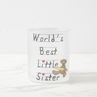 World's Best Little Sister Tshirts and Gifts Frosted Glass Coffee Mug