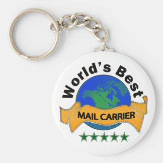 World's Best Mail Carrier Basic Round Button Key Ring