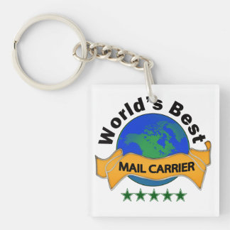 World's Best Mail Carrier Single-Sided Square Acrylic Key Ring