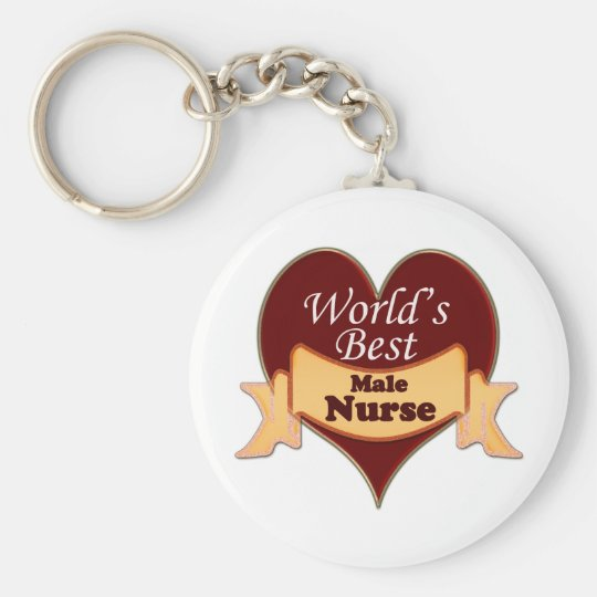 World's Best Male Nurse Basic Round Button Key Ring