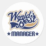 Worlds Best Manager Round Sticker