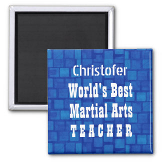 World's Best Martial Arts Teacher Blue Bricks A01B Magnet