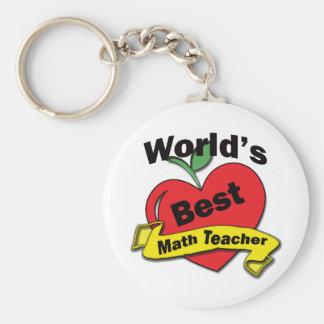 World's Best Math Teacher Basic Round Button Key Ring