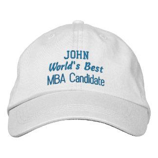 World's Best MBA Candidate Custom Name BLUE Embroidered Baseball Cap