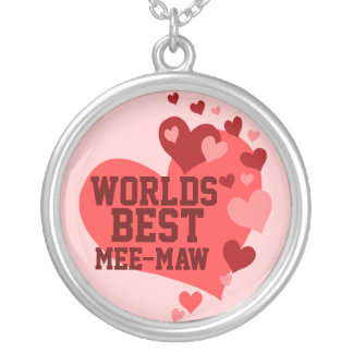 Worlds Best Mee-Maw (or any name) Round Pendant Necklace