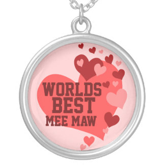 Worlds Best Mee Maw (or any name) Round Pendant Necklace