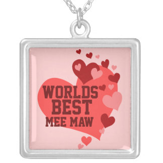 Worlds Best Mee Maw (or any name) Square Pendant Necklace