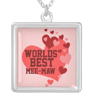 Worlds Best Mee-Maw (or any name) Square Pendant Necklace