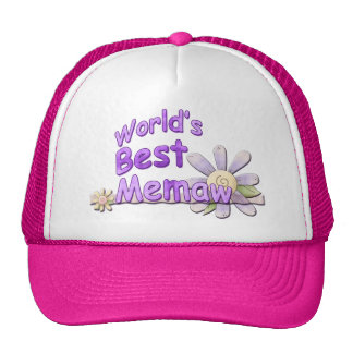 Worlds Best Memaw Flower Cap
