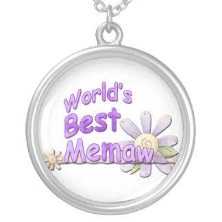 Worlds Best Memaw Flower Round Pendant Necklace