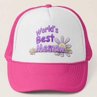 Worlds Best Memaw Flower Trucker Hat