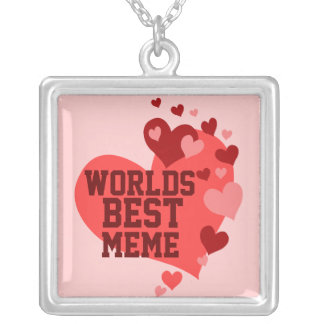 Worlds Best MeMe (or any name) Square Pendant Necklace