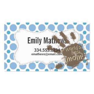 World's Best Mom; Baby Blue Polka Dots Pack Of Standard Business Cards