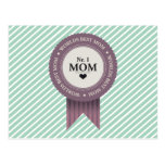 WORLDS BEST MOM BADGE PURPLE POSTCARD