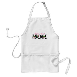 World's Best Mom Black with Pink Tulips Standard Apron