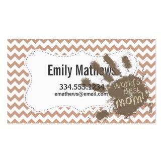 World's Best Mom; Brown Chevron Business Cards