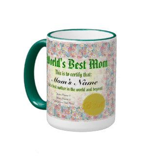 World's Best Mom Certificate Coffee Mug