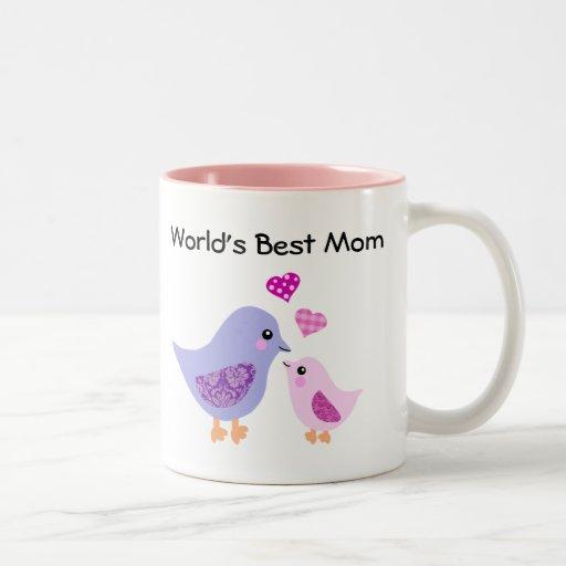 World's best mom cute bird & chick mug