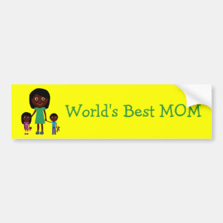 World's Best Mom Cute Ethnic Cartoon Characters Bumper Sticker