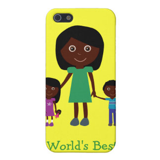 World's Best Mom Cute Ethnic Cartoon Characters Cover For iPhone 5