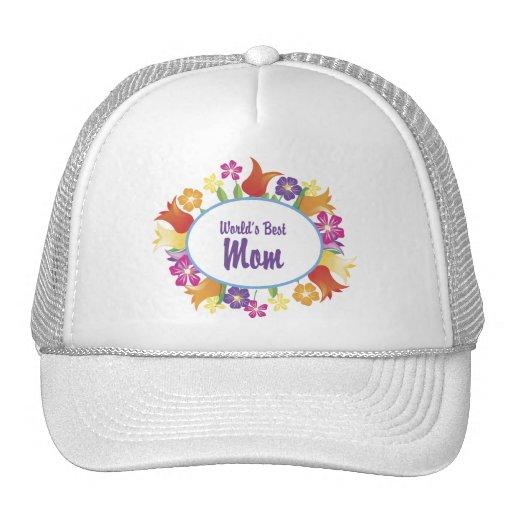 World's Best Mom Floral Border Trucker Hat